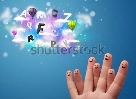 Boldog derűs emotikon ujjak néz színes Stock fotó © ra2studio