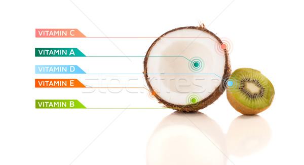 Foto stock: Saludable · frutas · colorido · vitamina · símbolos · iconos