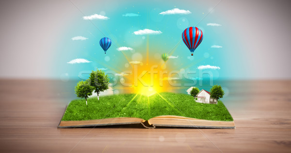 ストックフォト: 開いた本 · 緑 · 自然 · 世界 · 外に