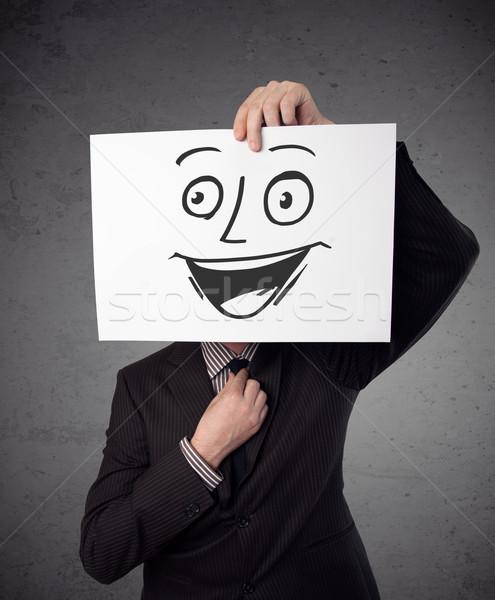 Empresário cartão rosto sorridente jovem Foto stock © ra2studio