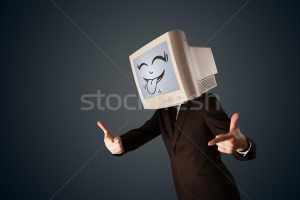 счастливым деловой человек Компьютерный монитор экране улыбка Сток-фото © ra2studio