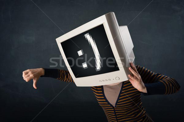 Engraçado menina monitor caixa cabeça rosto sorridente Foto stock © ra2studio