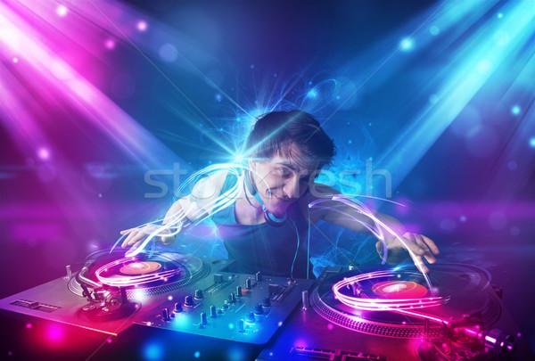 Energético música potente efectos de luz jóvenes fiesta Foto stock © ra2studio