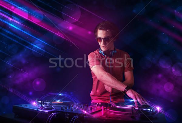 Młodych gry gramofony kolor efekty świetlne atrakcyjny Zdjęcia stock © ra2studio