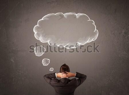 Işadamı oturma bulut düşünce üzerinde kafa Stok fotoğraf © ra2studio