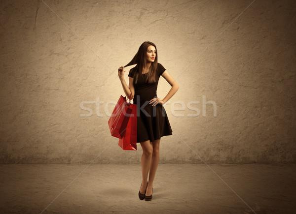 торговых девушки мешки красивой Постоянный Сток-фото © ra2studio