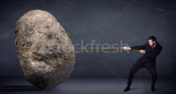 ビジネスマン 巨大な 岩 ロープ ビジネス ストックフォト © ra2studio
