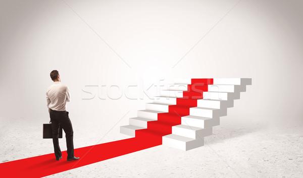 Kroki sukces biznesmen udany teczki stałego Zdjęcia stock © ra2studio