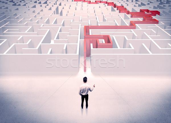 Labirintus üzletember öltöny remek labirintus piros Stock fotó © ra2studio