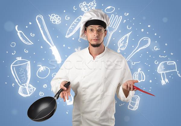 Jeunes Cook craie soupe recette Photo stock © ra2studio