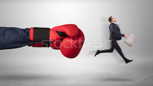 óriás kéz rúgás kicsi üzletember alkalmazott Stock fotó © ra2studio