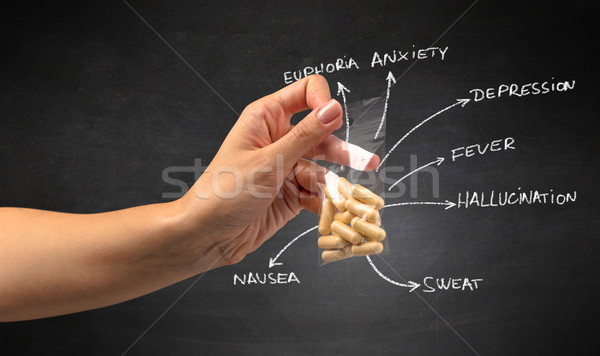 Handing over pills with blackboard wallpaper Stock photo © ra2studio