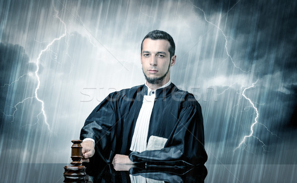 Young judge with hard time concept Stock photo © ra2studio