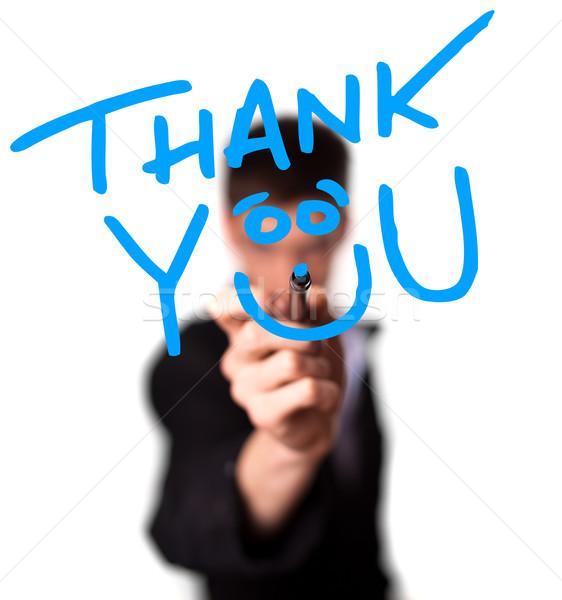Young man writing Thank YOU on whiteboard Stock photo © ra2studio
