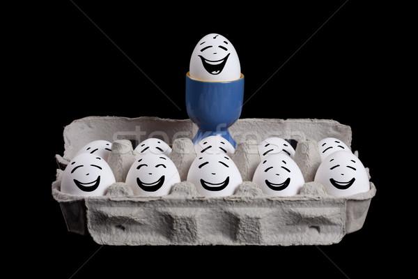 Ovos emoticon faces casca de ovo patrão cabeça Foto stock © ra2studio