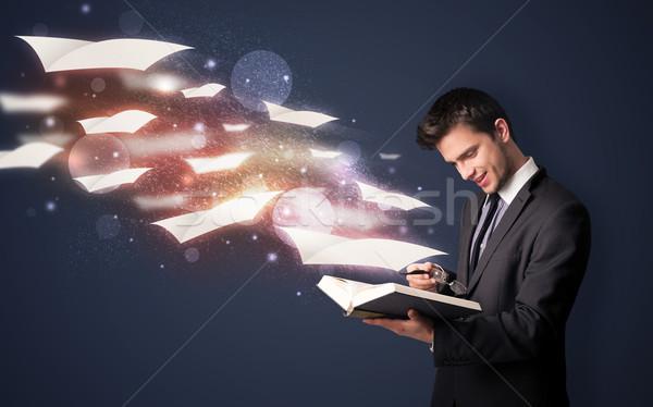 Fiatal fickó olvas könyv repülés ki Stock fotó © ra2studio