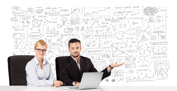 Young businessman and businesswoman planning and calculating with various business ideas Stock photo © ra2studio