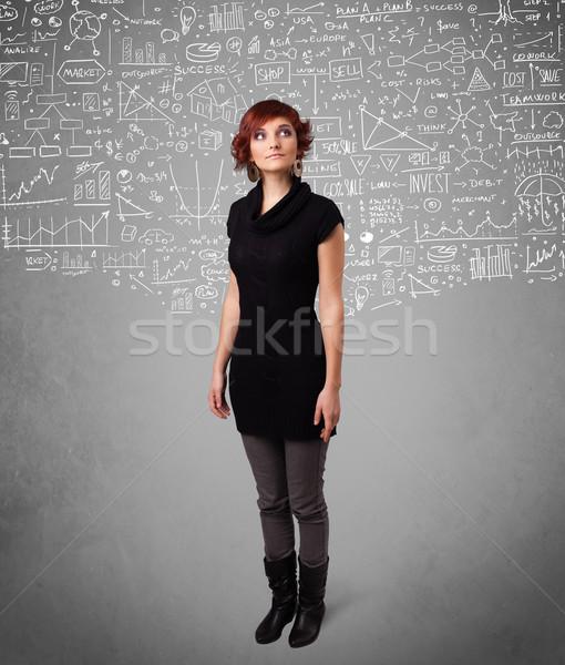 Jonge mooie dame iconen witte Stockfoto © ra2studio