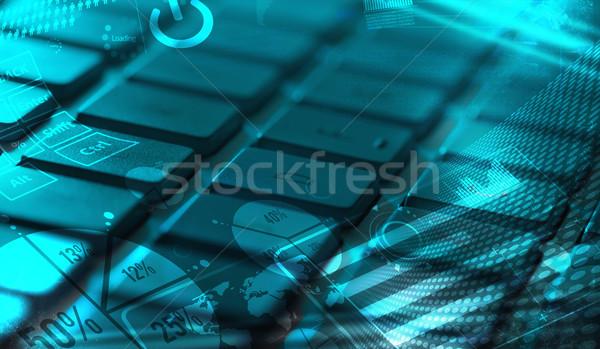 Klawiatury wykresy cyfrowe obrotu Zdjęcia stock © ra2studio