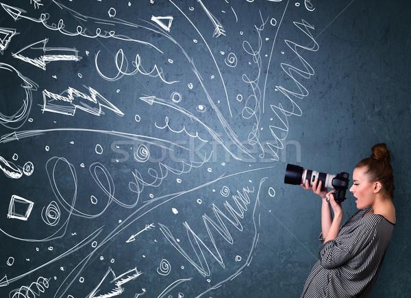 Photographe tir énergique dessinés à la main lignes Photo stock © ra2studio