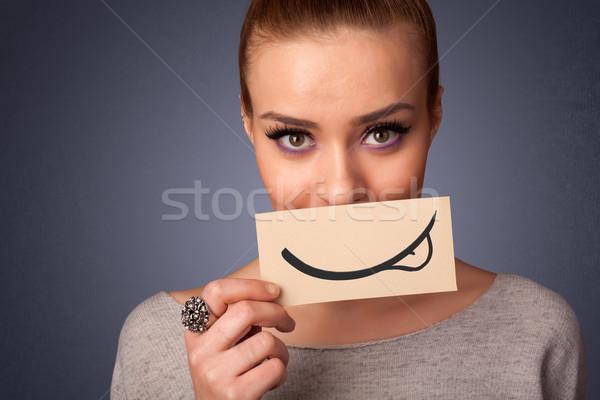 Foto stock: Bastante · joven · blanco · tarjeta · sonrisa