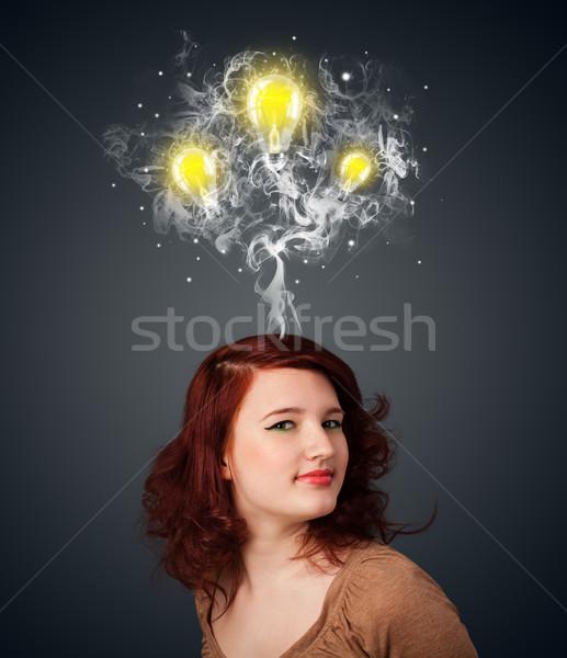 женщину дым голову довольно Сток-фото © ra2studio