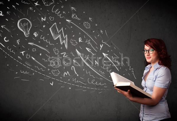 Fiatal nő olvas könyv kézzel rajzolt ki lány Stock fotó © ra2studio