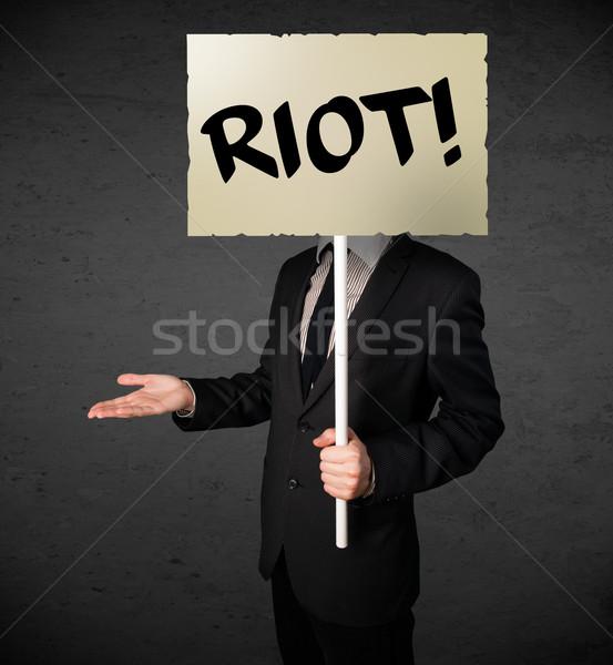 Stockfoto: Zakenman · protest · teken · demonstratie · boord