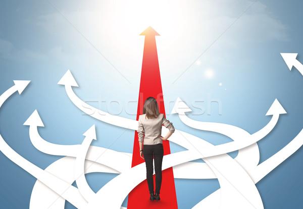 Foto stock: Empresária · diferente · direção · confuso · mulher