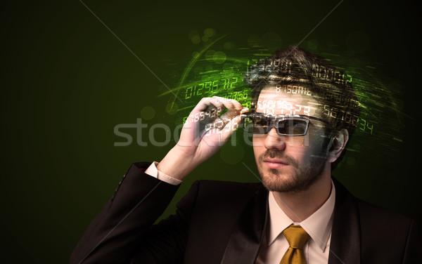Zakenman naar hoog tech aantal computer Stockfoto © ra2studio