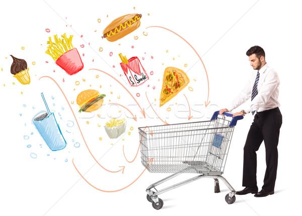 Człowiek koszyk toksyczny biznesmen popychanie Zdjęcia stock © ra2studio