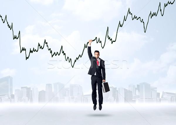 Stockfoto: Opknoping · zakenman · grafiek · touw · hand · ruimte