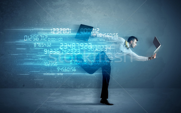 Business man running with device and data concept Stock photo © ra2studio