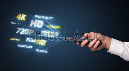 Foto stock: Mano · control · remoto · multimedia · fuera · tecnología