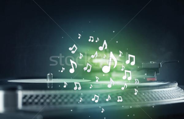 Gramofonu gry muzyki audio zauważa Zdjęcia stock © ra2studio