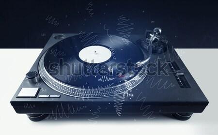 Stockfoto: Draaitafel · spelen · muziek · kruis · lijnen