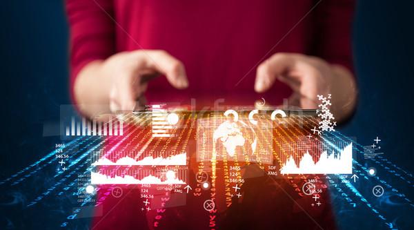 Hand touchpad tablet business markt Stockfoto © ra2studio