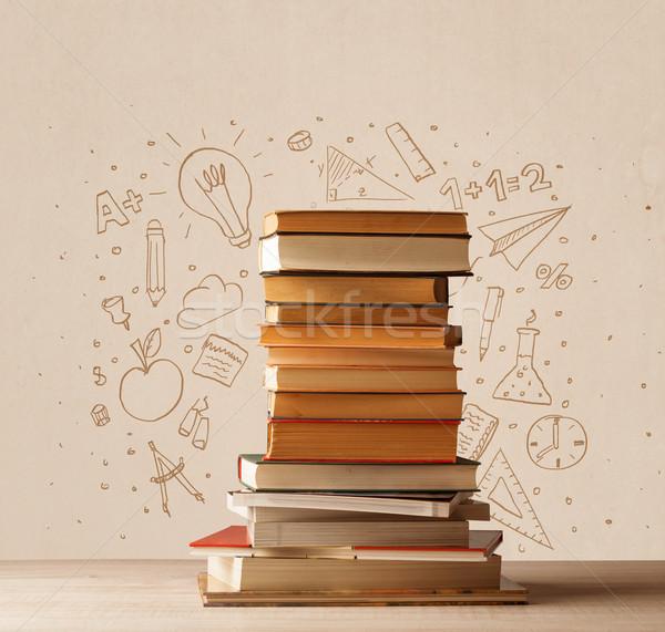 Köteg könyvek asztal iskola kézzel rajzolt firka Stock fotó © ra2studio