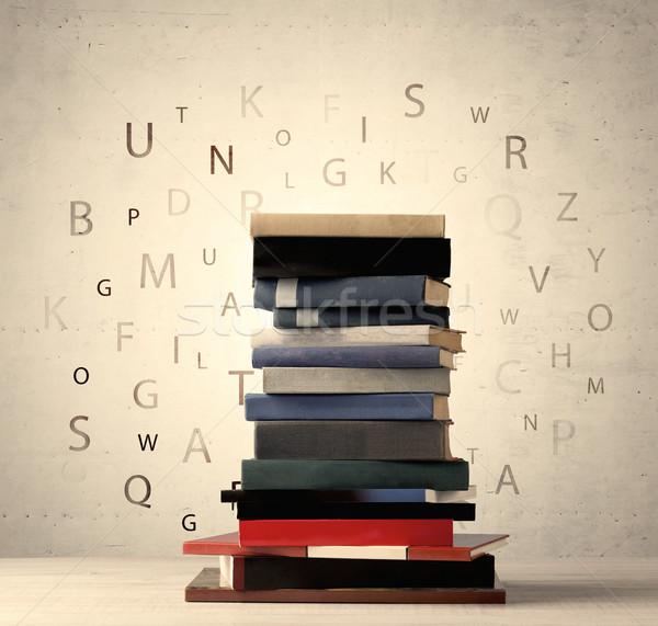 Livres battant lettres vintage vieux papier Photo stock © ra2studio