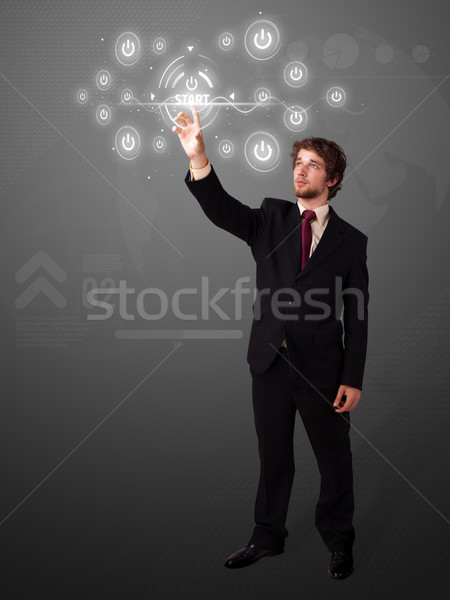 ストックフォト: ビジネスマン · 単純な · タイプ · 開始 · ボタン