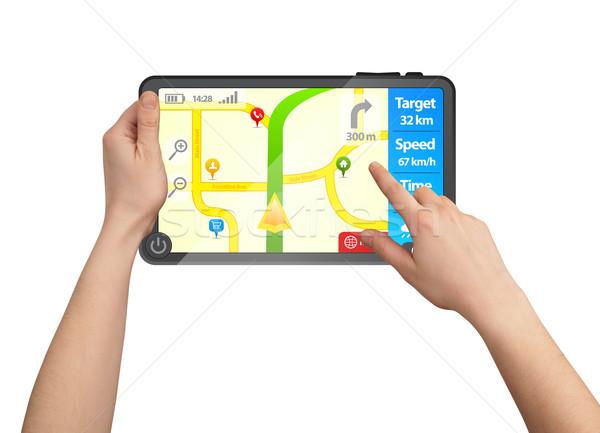 мужчины стороны touchpad GPS изолированный Сток-фото © ra2studio