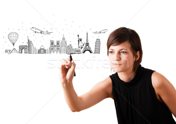 Dibujo famoso ciudades aislado Foto stock © ra2studio