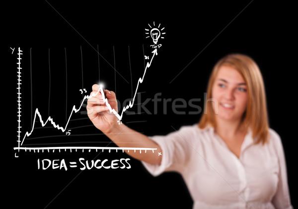 Photo stock: Femme · dessin · graphique · jeune · femme · affaires
