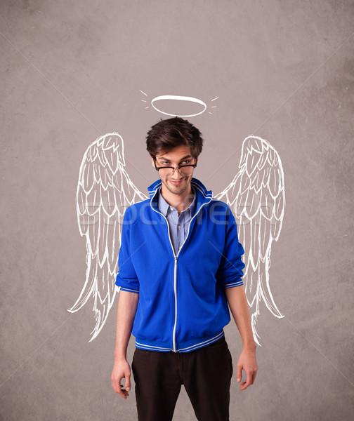 Fiatalember angyal illusztrált szárnyak koszos férfi Stock fotó © ra2studio