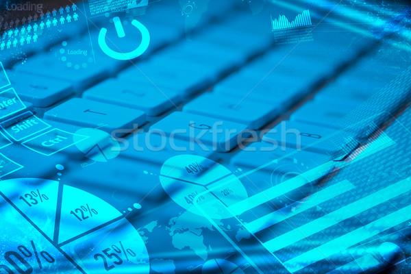 Tastatur glühend Charts Computer-Tastatur digitalen Marketing Stock foto © ra2studio