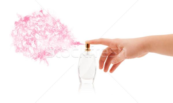 Kobieta ręce perfum strony moda Zdjęcia stock © ra2studio
