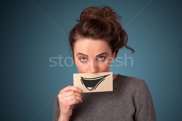 Zdjęcia stock: Szczęśliwy · cute · dziewczyna · papieru · funny