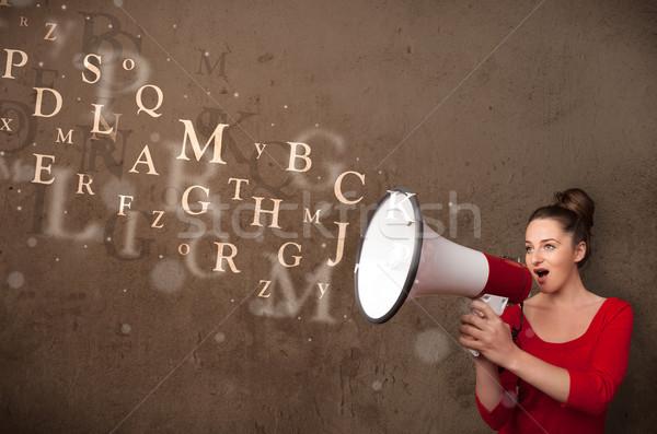 Fiatal lány kiált megafon szöveg jött ki Stock fotó © ra2studio