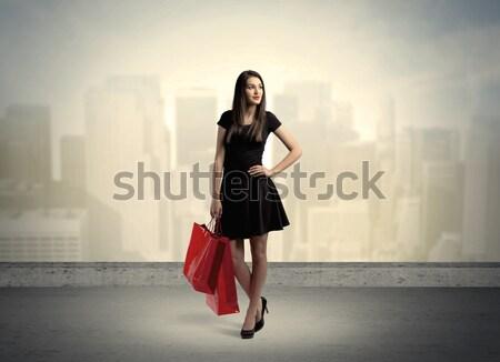 город женщину Постоянный привлекательный Lady Сток-фото © ra2studio