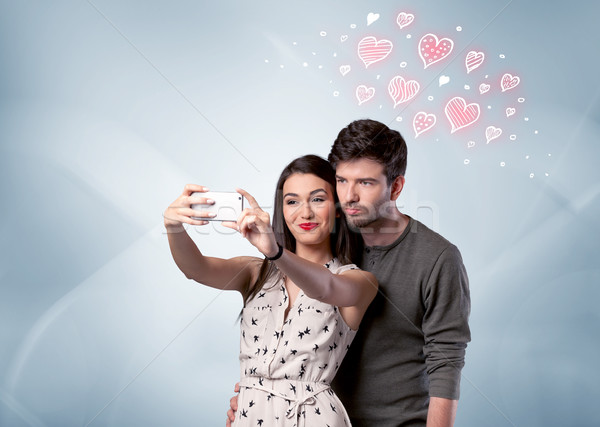 Stockfoto: Paar · liefde · Rood · hart